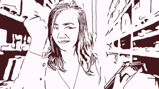 Animation Cartoon Skizze, Gesichtsausdruck von Geschäftsfrau im Geschäft, Erfolg, stolz, schnappen von Fingern