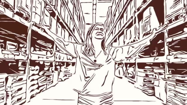 Animation Cartoon Skizze, Gesichtsausdruck von Geschäftsfrau im Geschäft, Erfolg, stolz, ausgestreckten Armen