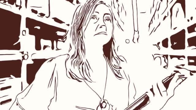 Animation Cartoon Skizze, Gesichtsausdruck von Business-Frau mit digital-Tablette im Geschäft, Erfolg, stolz