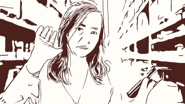 Animation Cartoon Skizze, Gesichtsausdruck von Business-Frau mit digital-Tablette im Geschäft, Erfolg, stolz, Videokonferenz