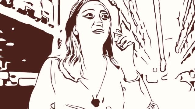Animation Cartoon Skizze, Gesichtsausdruck von Business-Frau mit digital-Tablette drin, zählen und prüfen