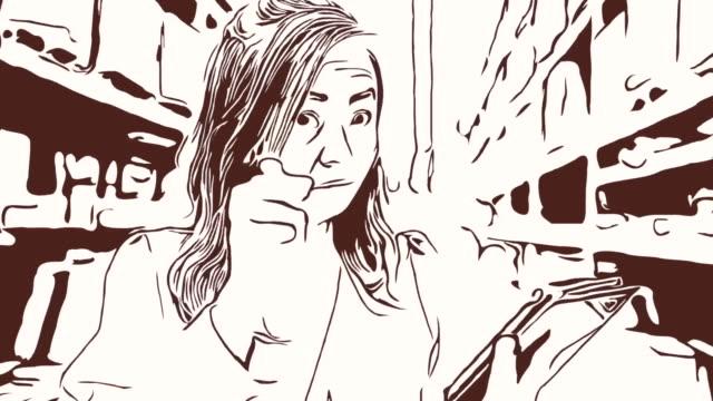 Animation Cartoon Skizze, Gesichtsausdruck von Business-Frau mit digital-Tablette im Geschäft, Erfolg, stolz, Daumen hoch