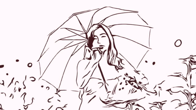 Animation cartoon sketch ,Facial expression by  woman relaxation in field , blowing a kiss and hello goodbye sign ,holding umbrella