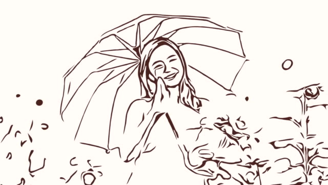 Animation cartoon sketch ,Facial expression by  woman relaxation in field , I love you sign ,holding umbrella