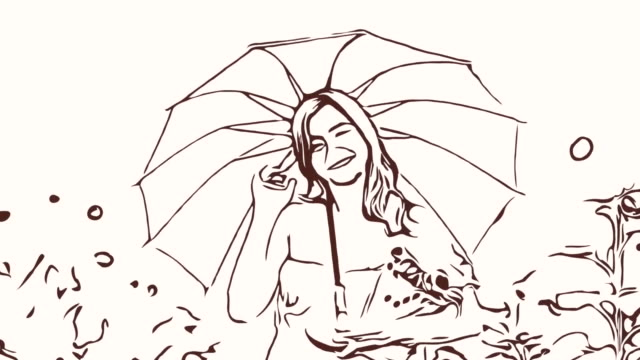 Animation cartoon sketch ,Facial expression by  woman relaxation in field , welcome and beckoning sign ,holding umbrella