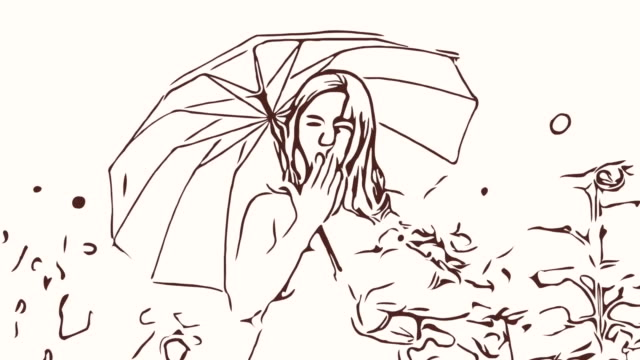 Animation cartoon sketch ,Facial expression by  woman relaxation in field , welcome and blowing a kiss holding umbrella