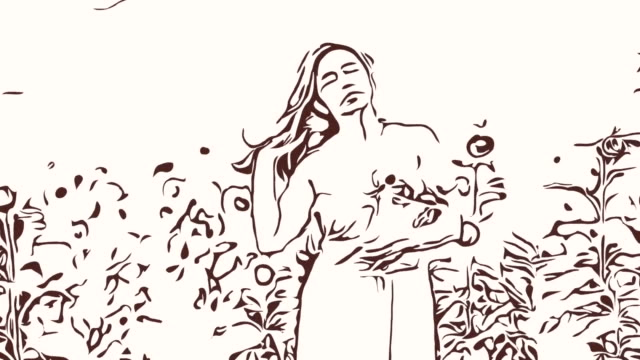Animation cartoon sketch ,Facial expression by  woman relaxation in field , Rising and shaking of hair