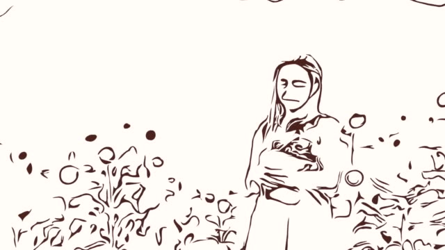Animation cartoon sketch ,Facial expression by  woman relaxation in field , holding flowers