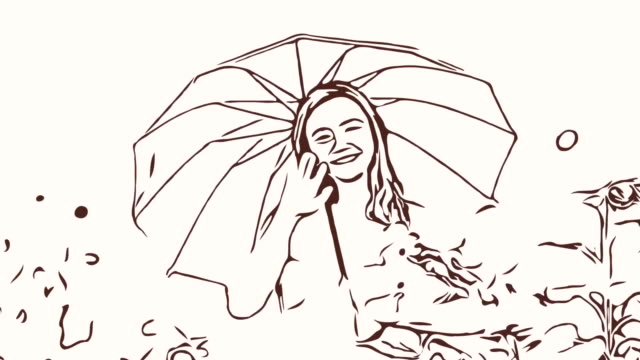 Animation cartoon sketch ,Facial expression by  woman relaxation in field , welcome and hello goodbye sign ,holding umbrella
