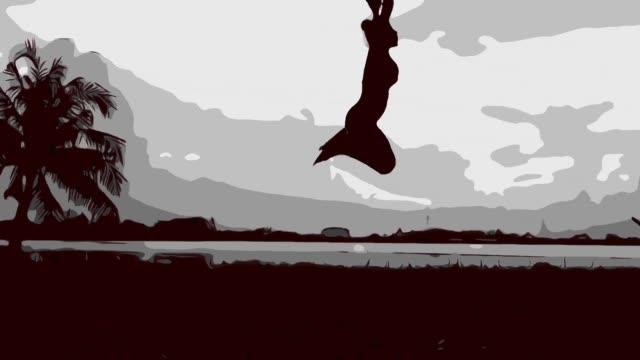 animation cartoon sketch , girl jumping - human limb stock videos & royalty-free footage