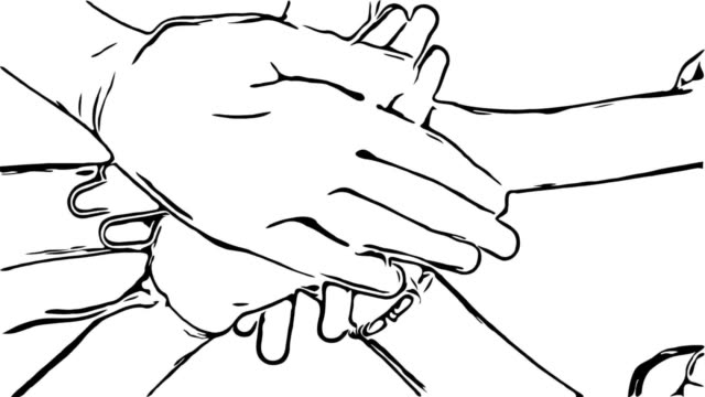 Animation cartoon sketch , Hand sign , teamwork