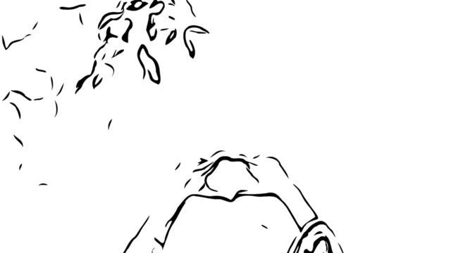 animation cartoon sketch , heart sign by asian young woman in garden - i love you stock videos & royalty-free footage