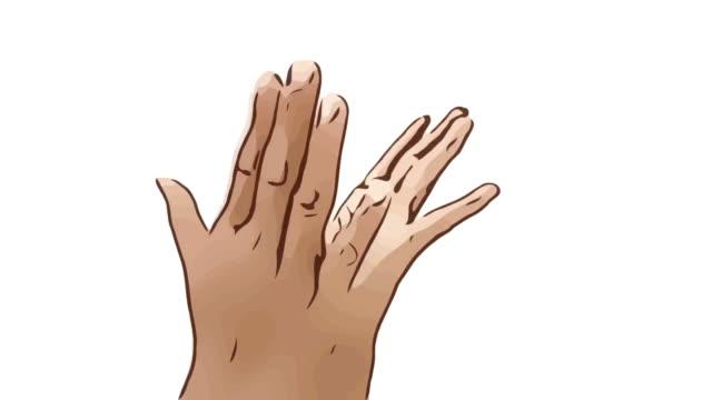 Animation Cartoon Skizze, menschliche Hand und Körpersprache, mit Show Hello Goodbye Schild heben die Hand und klatscht die hand