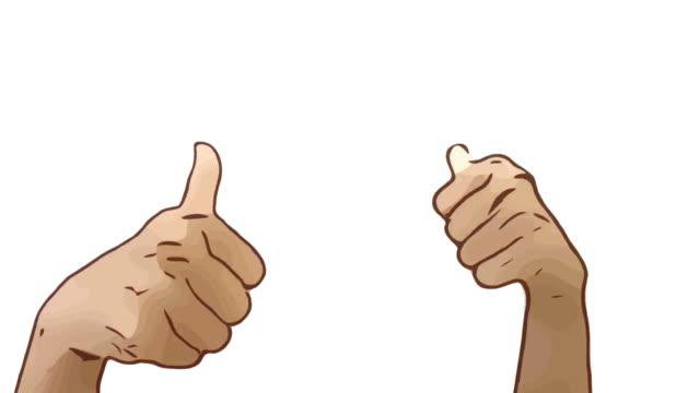 Animation Cartoon Skizze, menschliche Hand und Körpersprache, Hand heben mit gutes Zeichen zeigen, Daumen nach oben