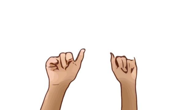Animation Cartoon Skizze, menschliche Hand und Körpersprache, Hand heben mit Show winkt Zeichen