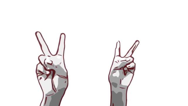 Animation Cartoon Skizze, menschliche Hand und Körpersprache, Hand heben mit Victory-Zeichen zeigen