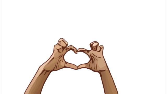 Animation Cartoon Skizze, menschliche Hand und Körpersprache, Hand heben mit Show Herzschild, gutes Zeichen, Daumen Diskussion zusammen