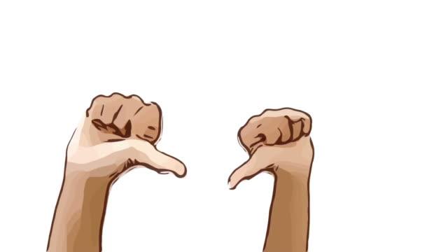 Animation Cartoon Skizze, menschliche Hand und Körpersprache, Hand heben mit schlechtes Zeichen zeigen, Daumen runter