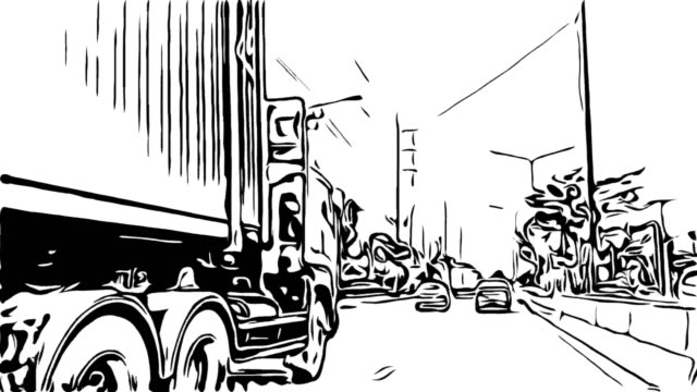 animation cartoon sketch , traffic on road - sketch stock videos & royalty-free footage