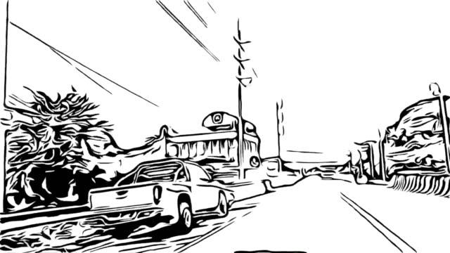 animation cartoon sketch , traffic on road - simbolo video stock e b–roll