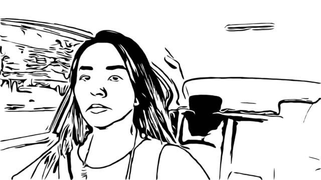 vídeos y material grabado en eventos de stock de animación cartoon sketch, mujer conduciendo coche - ilustración