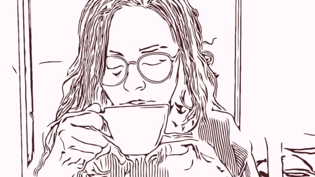 vídeos de stock e filmes b-roll de animation cartoon sketch ,woman enjoying coffee - personas