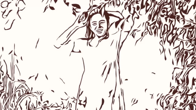 Animation cartoon sketch ,woman getting dressed , hiding behind tree