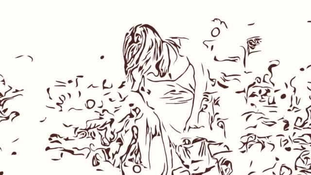 アニメーション漫画スケッチ、ヒマワリのフィールド、スクラッチ足、かゆみ、アレルギーの女性 - 美容ケア点の映像素材/bロール