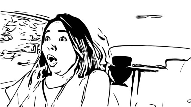 animation cartoon sketch,woman driving car,shocked gesturing - sketch stock videos & royalty-free footage