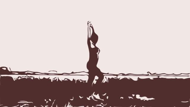 Animatie cartoon, vrouw workout yoga en Pilates