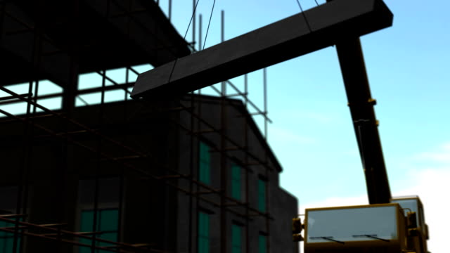 3d animation, construction site, crane hoisting steel beam - hoisting stock videos & royalty-free footage