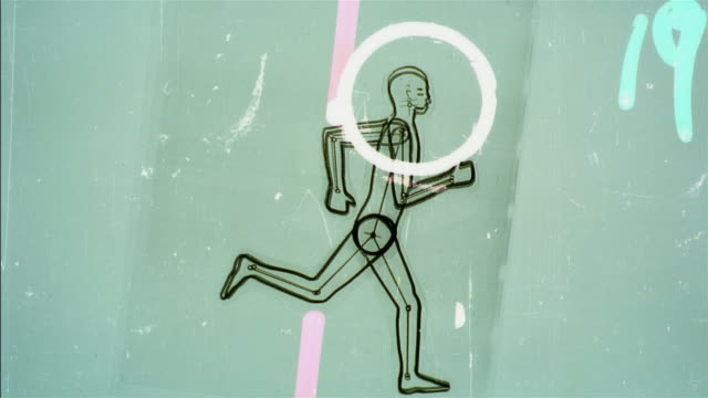 cgi, animation, drawing of running and jumping man - rappresentazione umana video stock e b–roll