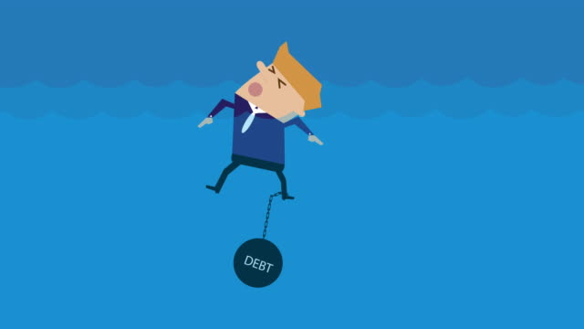 animation drowning with debt loop cartoon - debt stock videos & royalty-free footage