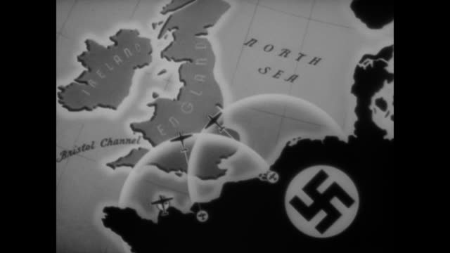 vídeos y material grabado en eventos de stock de wwii animation explaining the details of germany's three phase plan for the invasion of great britain - batalla de inglaterra