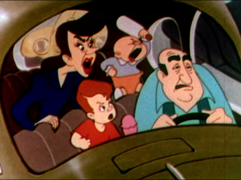 vídeos y material grabado en eventos de stock de 1949 animation / family in car nagging at and hitting father / audio - asiento de atrás