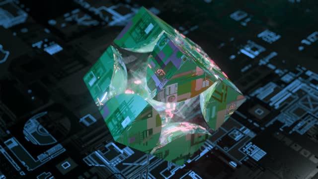animation glaswürfel zu einem schönen krypto-technologie-ball geformt, reflexionen der zukunft - schwerkraft stock-videos und b-roll-filmmaterial