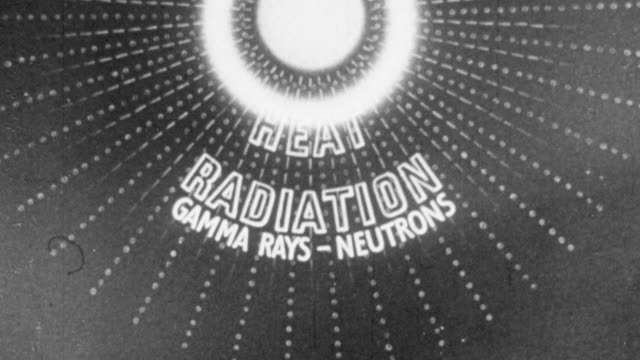 1956 ws animation illustrating the process of a hydrogen bomb explosion / united kingdom - radioaktiver niederschlag stock-videos und b-roll-filmmaterial