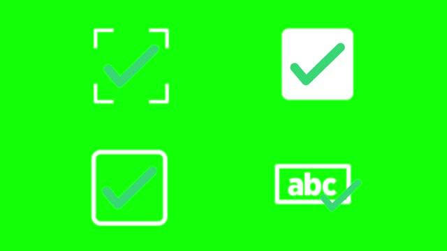 vídeos de stock, filmes e b-roll de gráficos de animação em movimento de um símbolo de marcas de verificação. simbolizando a direita. gráficos de movimento. fundo isolado - examining