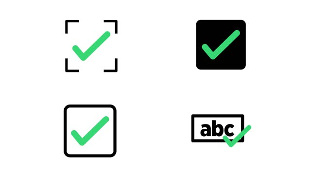 animation in motion graphics of a check marks symbols. symbolizing right. motion graphics. isolated background - examining stock videos & royalty-free footage