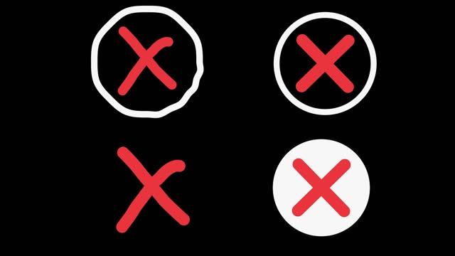 animazione nella grafica in movimento dei simboli dei segni incrociati. simbolo del no. motion graphics. sfondo isolato - a forma di croce video stock e b–roll
