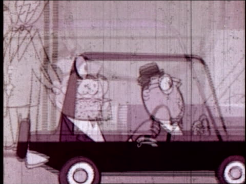 vídeos de stock e filmes b-roll de animation, man driving car. - figura masculina