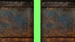 Animation - Metal Rusty Door Opening To Green Screen Background