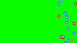 Animation modern abstract like icons motion background  heart and like icons animation.  Green Background, Chroma key.