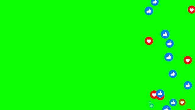 vídeos de stock e filmes b-roll de animation modern abstract like icons motion background  heart and like icons animation.  green background, chroma key. - animation moving image