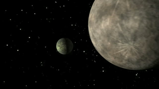Animation of a celestial body the size of our moon impacing with a body the size of Mercury. NASAs Spitzer Space Telescope found evidence that a high-speed collision of this sort occurred a few thousand years ago around a young star, called HD 172555
