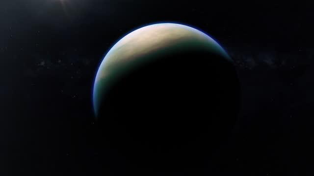 animation of a flight around saturn's moon titan - titan moon stock videos & royalty-free footage