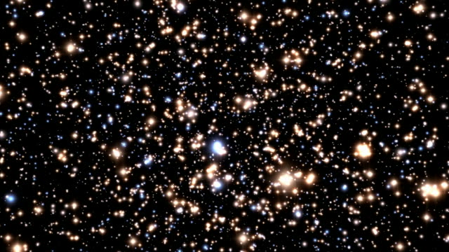 Animation of a flight through the globular cluster Omega Centauri, passing the dense stars and showing the tight orbits of stars around an extremely dense object at its centre. Due to its density, this is thought to be a black hole