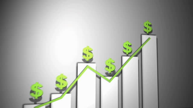 3d animation of a line graph and bar graph - us currency stock videos & royalty-free footage