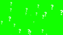 animation of a lot of white question mark moving on chroma key green screen background