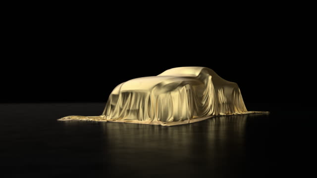 3d animation of a luxury car a covered with a gold cloth - covering stock videos & royalty-free footage